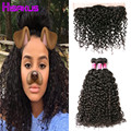 Raw Indian Hair Water Wave with Frontal 3PCS Indian Curly Virgin Hair with Frontal Unprocessed Human Hair Bundles with Frontal