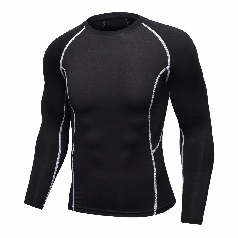 Gym Muscle Bodybuilding Black Mesh Fitness Power Lifting: Men Compression Long Sleeve Breathable Pure Black T Shirts