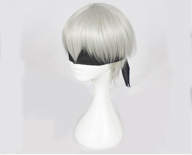 NieR:Automata 9S Cosplay Wig YoRHa No. 9 Model Silver Wig with Black Eye Patch Cosplay Halloween