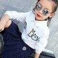 5 6 7 8 9 10 11 12 13 14 15 Anos adolescentes Meninas Do Bebê Primavera Blusa Branca Tops de Manga Longa Camisa de Algodão Bordado crianças