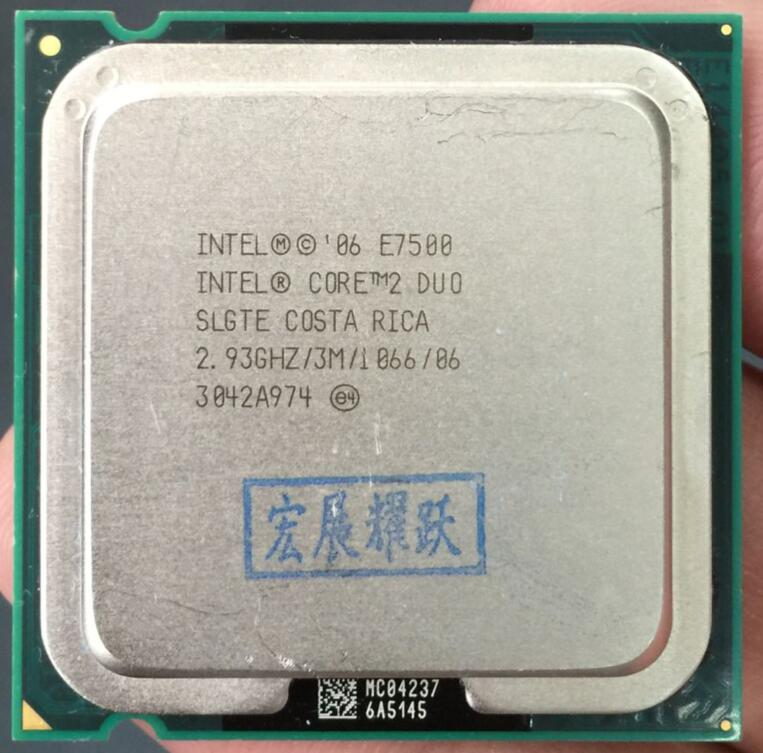 Intel Core 2 Duo Processeur E7500 LGA775 De Bureau CPU Intel unité centrale de traitement