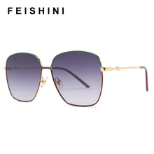 FEISHINI Celebrity Protable Quality Sunglasses Women Oversized Square Glasses Brand Design Luxury Sunglass Top Gradient Vintage