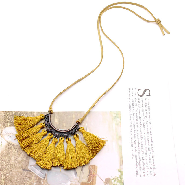 Vintage Leather Rope Tassel Pendant Necklace 1