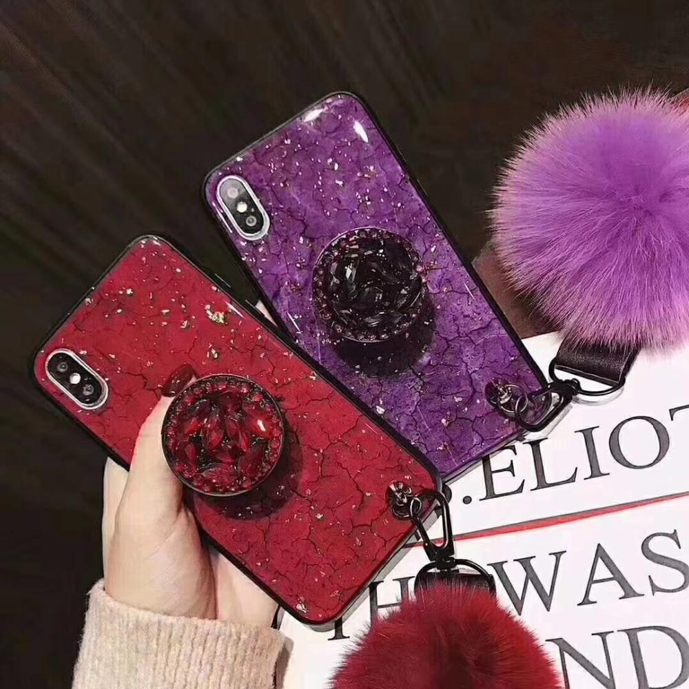Intellektuell Halterung Lanyard Abdeckung Für Samsung S7 Rand S8 S9 Plus Hinweis 8 9 Fall Für Iphone X Xr Xs Max 6 S 7 8 Diamant Glitter Capa Haar Ball