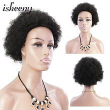 Isheeny Afro Puff Kinky Curl Remy Human Hair Wig Short Brazilian Spiral Curly Non Lace Hair For Women