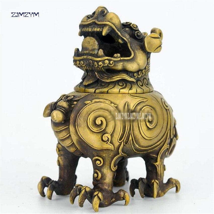 15 cm hauteur crier rugissant lion laiton Mini brûleur d'encens métal artisanat maison 94173 brûleurs d'encens temple, chambre