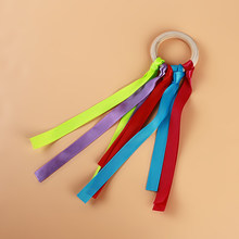 Baby Toy Rainbow Streamers Multicolor Ribbon Wooden Ring Waldorf Ribbon With Bell Hand Kite Toys Streamers Kids Sports Toy(China)
