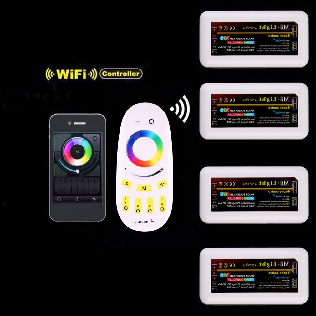 Wireless 2.4G 4-Zone RGBW Touchtone remote control for led strip,RF Wifi dimmable Controller rgb controller for milight mi light wifi controller 4x led controller rgbw 2 4g 4 zone rf wireless touching remote control for 5050 3528 led strip