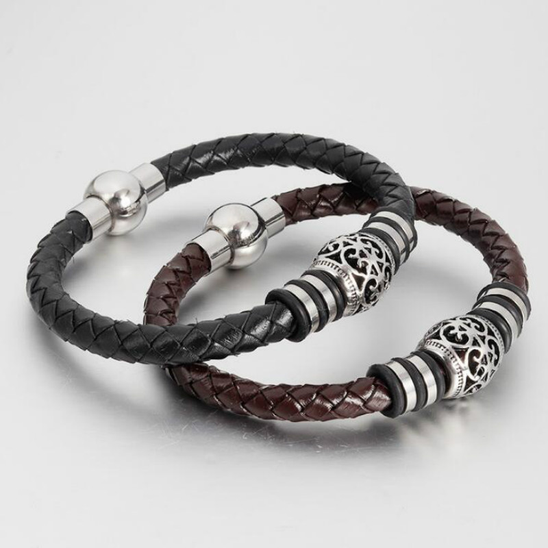 Stainless steel men Europe and America fashion vintage woven leather bracelet multi-layer bracelet 6MM jewelry