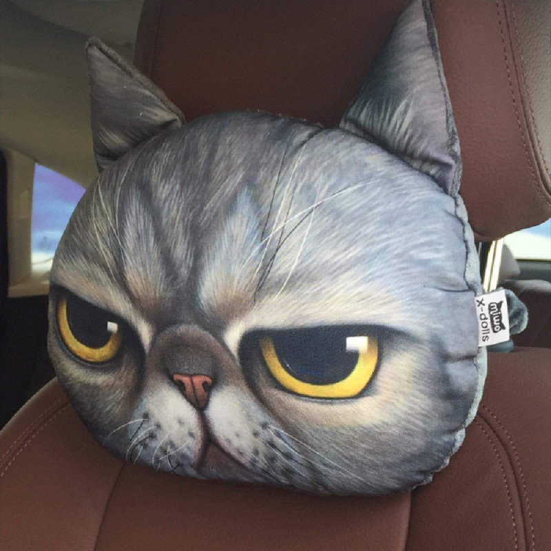 Newest 2019 3D Printed Dog Cat face Car Headrest Neck Rest Auto Neck Safety Cushion/ Car Neck Support Headrest Without Filler