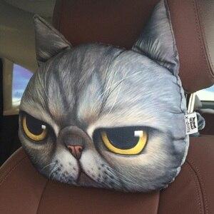 Image 3 - Più nuovo 2019 3D Stampato Cane Gatto faccia Auto Poggiatesta Poggiatesta Auto Collo Cuscino di Sicurezza/Auto di Sostegno del Collo Poggiatesta senza Filler