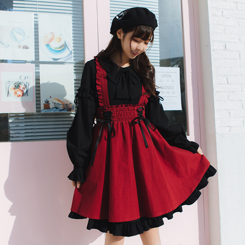 Étudiants Princesse Lg068 army Lolita Au Preppy Oreille Noir Sweet D'été Jupes Côté Green Style Printemps Et Mignon Jupe Fille Coton Sangle rose orange Engourdi r6rUqxnw