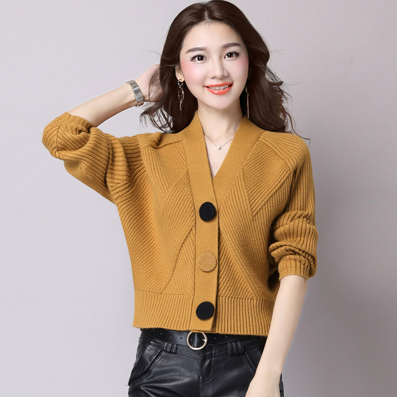 2018 Spring and autumn sweater female cardigan short design long-sleeve V-neck all-match loose solid color sweater coat