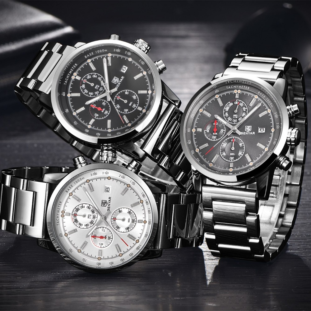 4711bbabf9d BENYAR Fashion Chronograph Sport Mens Watches Top Brand Luxury Military  Stainless Steel Strap Quartz Watch Relogio Masculino-in Quartz Watches from  Watches ...