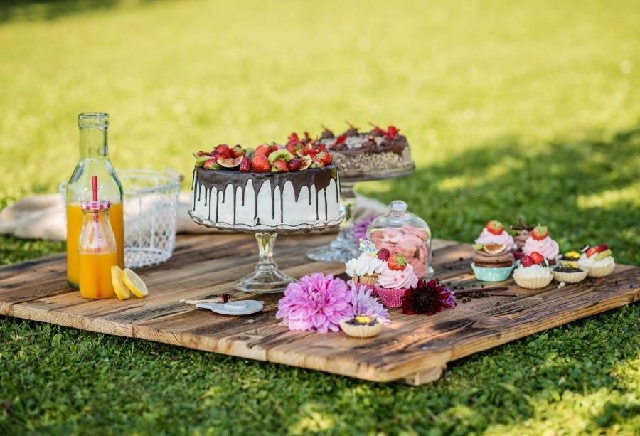 Laeacco Kids Birthday Cake Party Dessert Drink Outdoor Sunshine