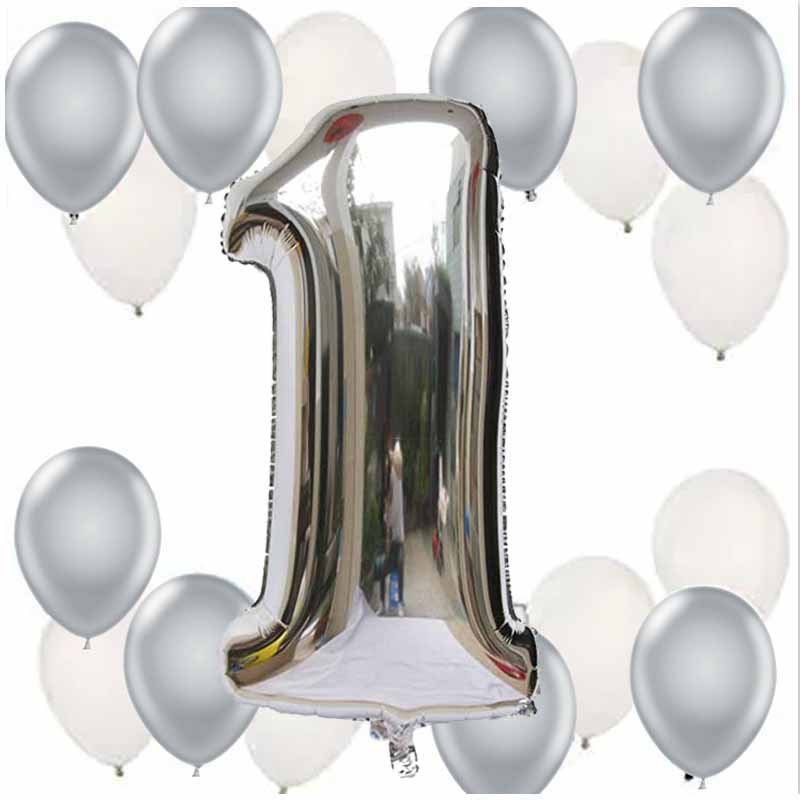 1 set boys girls baby shower kid 1st first one Year older Newborn Birthday party decoration foil number balloon gift gold silver
