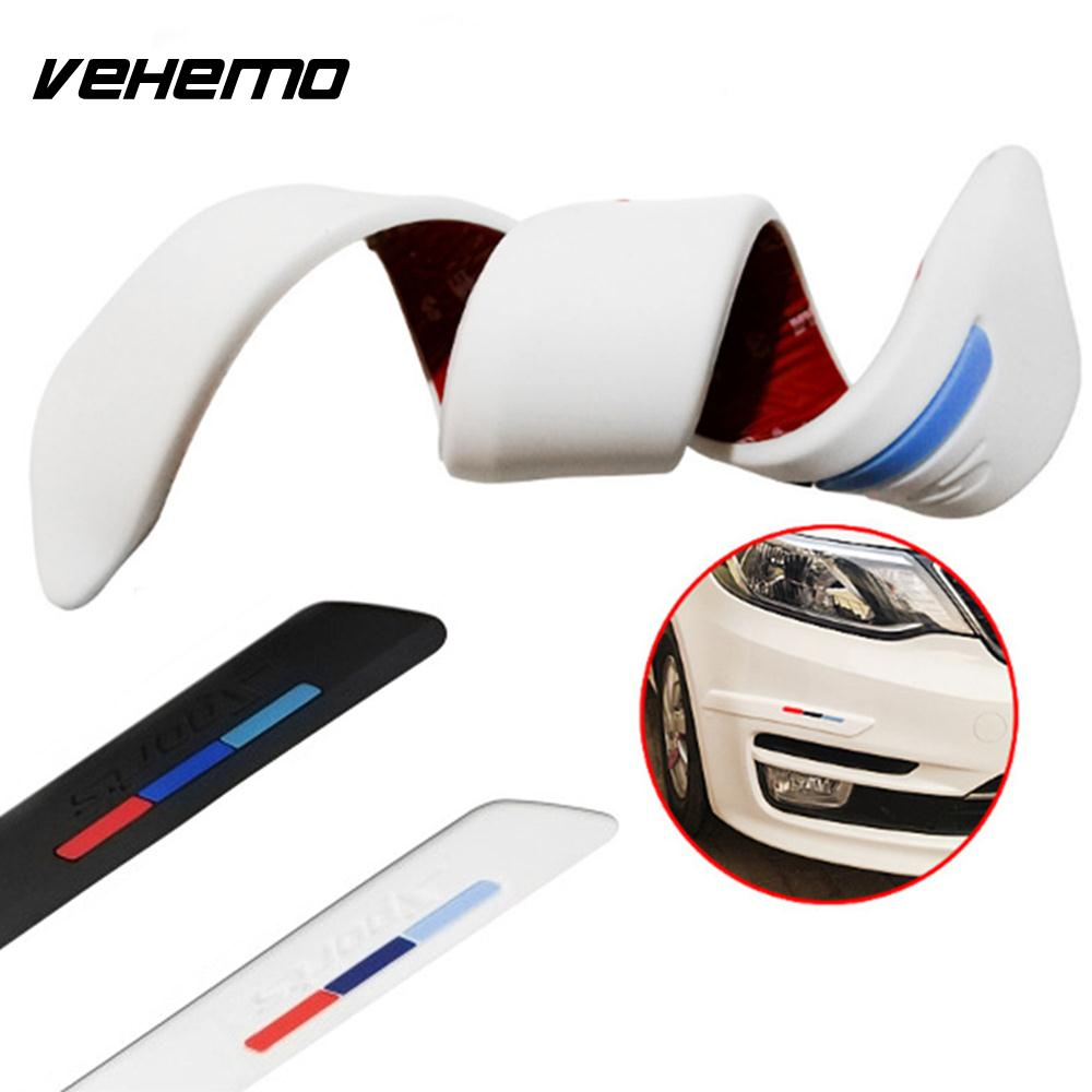 Vehemo Silicone Surrounded Bumper Strip Anti Scratch Sticker Strips Trim Cover Universal Front Bumper Practical