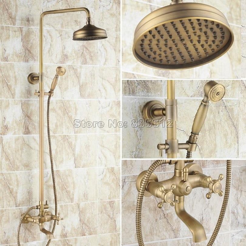 Wall Mounted Antique Brass Bathroom Dual Handles Clawfoot Bathtub ...