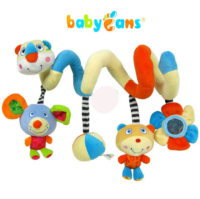 Baby Bed Hanging Decoration Stuff Plush Cute Animal Worm Colorful W/ Rattle Mirror Rustle Kid 0-12 month Toy Brand High Quality