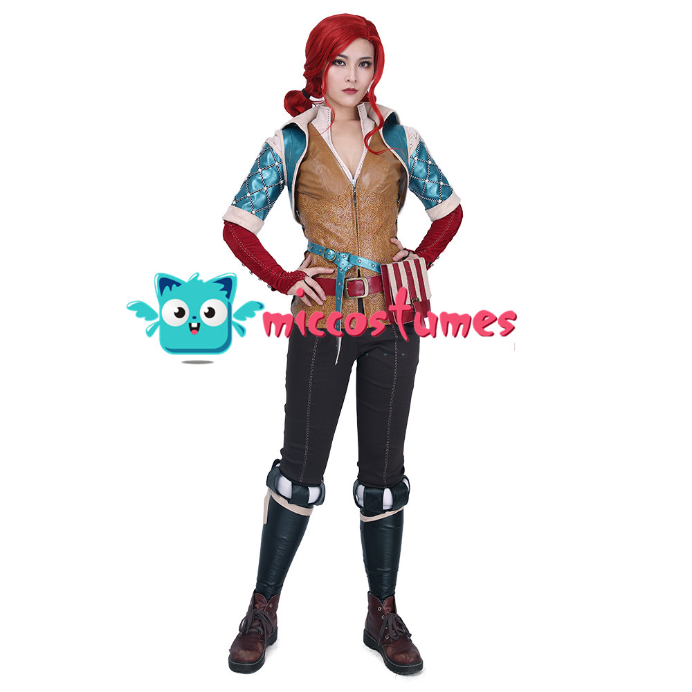 Wild Hunt Triss Merigold Cosplay Costume with belts set 2