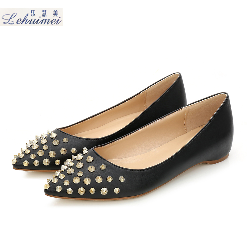 2018 Fashion rivets women flats shoes Sexy Pointed toe lady spring low heels shoes lady party casual suede wedding flats Black eiswelt shoes spring summer fashion rivet flats party pointed flock women shoes wedding shoes glitter flat ladies shoes zjf84