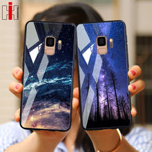 Hisomone Case For Samsung Galaxy S9 Plus Back Cover Star Tempered Glass Phone Case For Galaxy S9 + Note 8 9 Luxury Star Pattern(China)