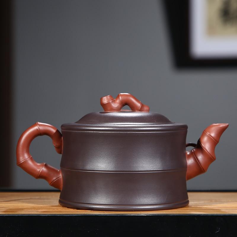 PINNY 350 ml YiXing fioletowy gliny bambusa czajniczek ręcznie wykonane ceramiczne naczynie na herbatę czajnik chiński Kung Fu zestaw herbaty fioletowy piasek rzemiosło w Dzbanki do herbaty od Dom i ogród na  Grupa 2