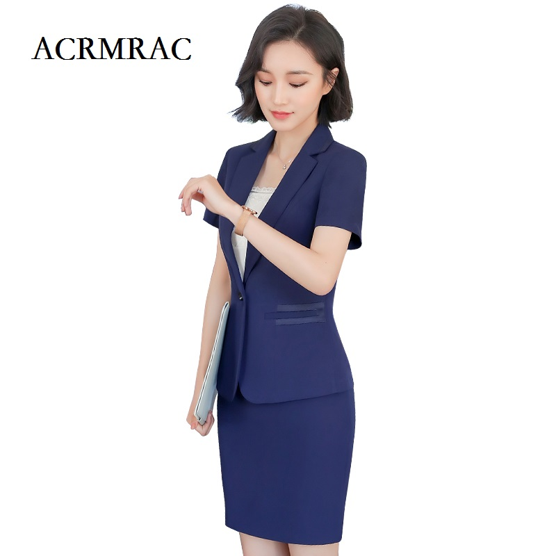 ACRMRAC Womens clothing 2018 New Solid color Slim Short sleeve jacket pants Single Button Business OL Formal Pant Suits