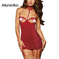 Ailunsnika 2017 Women New Sexy Red Halterneck Chemise Embroidered Lace Cups Off-shoulder Backless Babydoll DL31041
