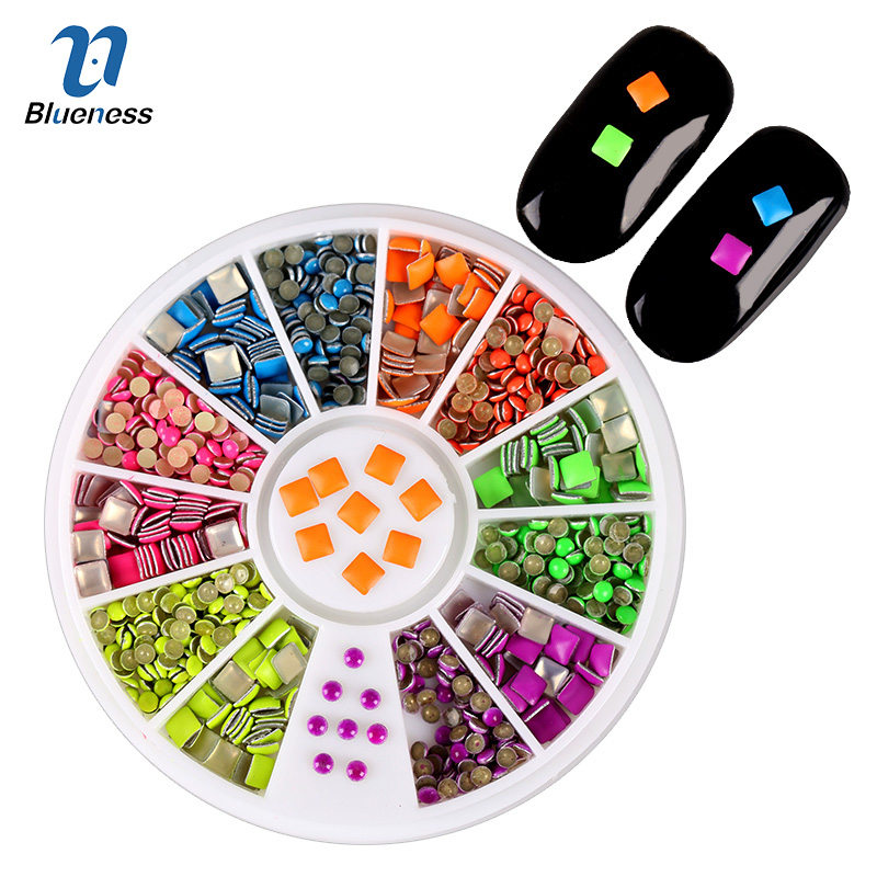 6 Neon Color Plating Square Round Design For Nail Art Tips Charms 3D Nails DIY Glitter Wheel Manicure Decorations ZP010 24pcs lot 3d nail stickers decal beauty summer styles design nail art charms manicure bronzing vintage decals decorations tools