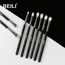 BEILI 8pcs Classic Black Pro makeup brushes Goat synthetic Hair Eye shadow Brow Blending smoky Makeup Brush Set(China)