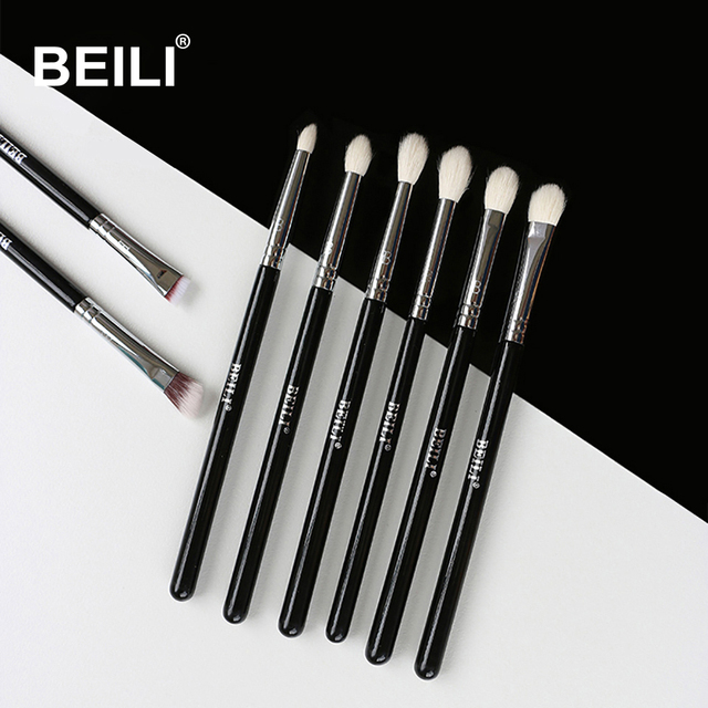 Conjunto de brochas de maquillaje negro clásico de 8 piezas, brochas de pelo sintético de cabra, sombra de ojos, brocha de maquillaje ahumado