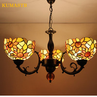 European Vintage Dinning Room Glass Chandeliers Restaurant Bar Bedroom Hanging Lamps Creative Art Lighting Stained Glass Light