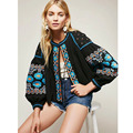 Ethnic Colors Flower Embroidery Jacket 2016 Woman Lantern sleeve Lacing up O neck Kimono Cardigan Coat Sunscreen Femme 4 colors