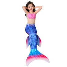 3 Pcs/set Cosplay Swimming Mermaid Tail Bikini Girls Children Swimmable Mermaid Tail Costome Dress Costume Vest Top Mermaid Tail