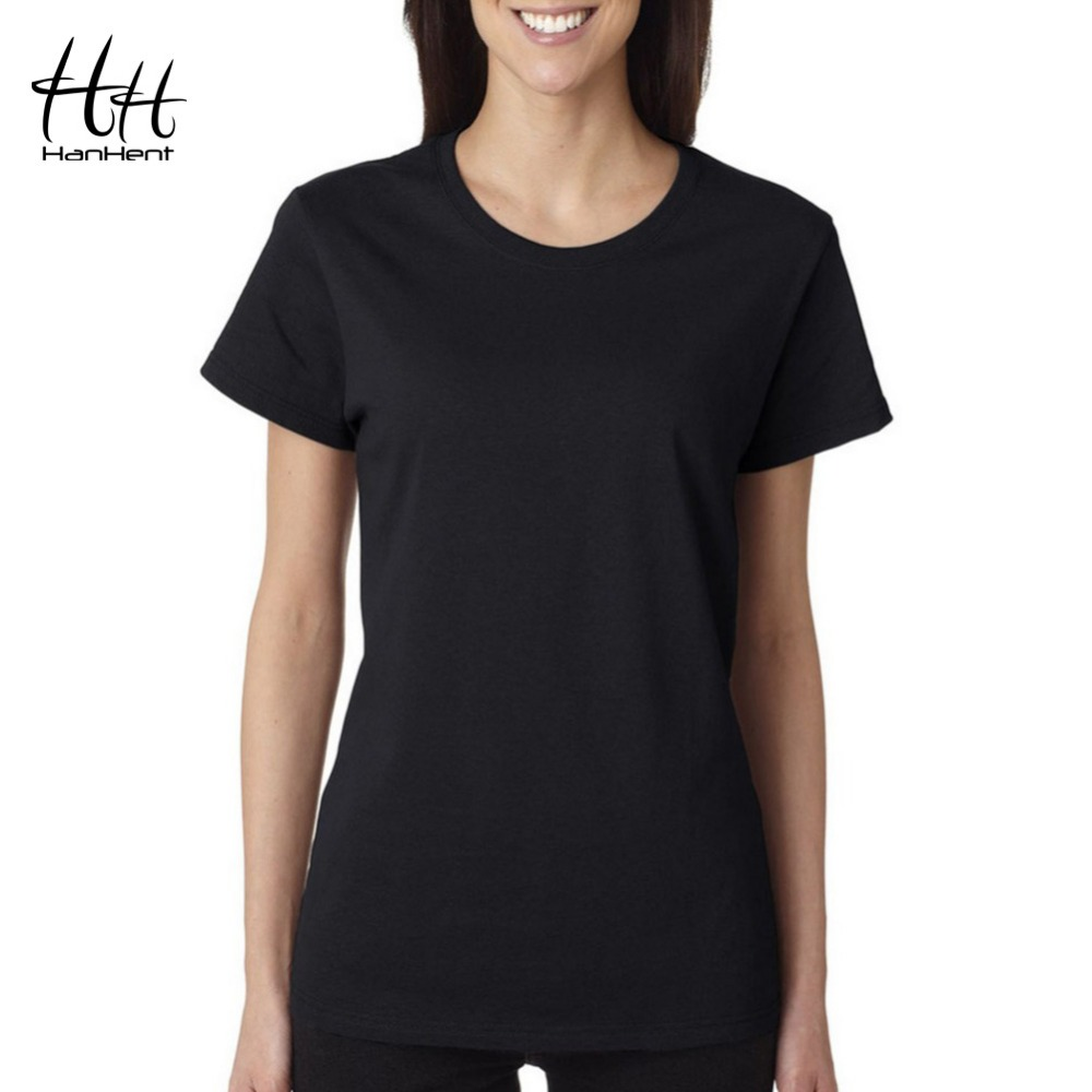 Hanhent casual women 39 s t shirt 2016 fashion pure cotton for Best shirts for girls