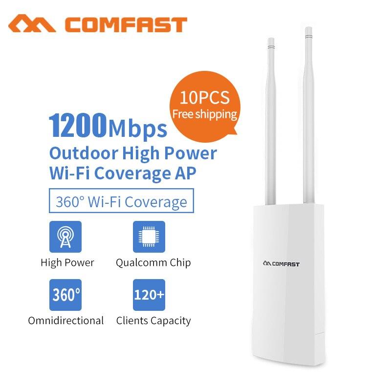 купить 10pc 1200Mbps Outdoor Wireless Router Dual Band 5.8Ghz Gigabit Access Point AP Poe Wifi Signal Amplifier WIFI Extender Router AP недорого