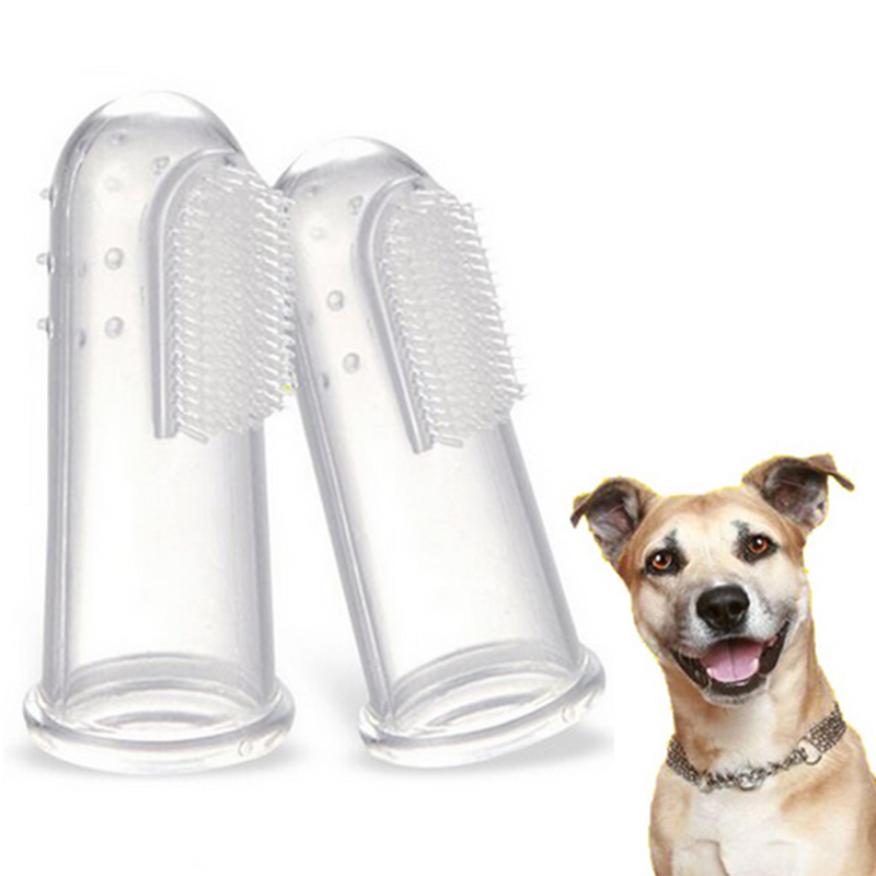 3pcs Pet Finger Toothbrush Dog Brush Breath Double Head Teeth Care Dog Cat Cleaning Toot ...