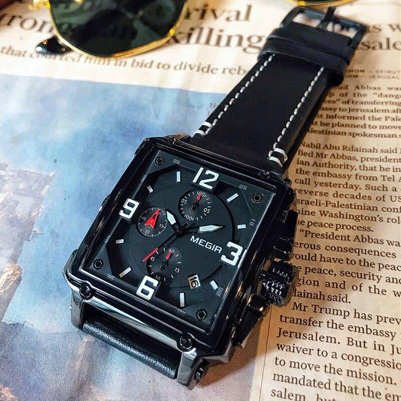 все цены на MEGIR Chronograph Sport Mens Watches Top Brand Luxury Leather Luminous Quartz Military Watch Men Clock Wrist Watch Reloj Hombre