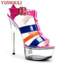 Новая стильная Летняя женская обувь на высоком каблуке 15-17 см, Т-образная повязка из лакированной кожи и водонепроницаемая танцевальная обувь с кристаллами