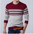 2016 Осенние новые модели шею длинными рукавами мужские свитера пуловеры тонкий пальто мужской Одежды Свитера