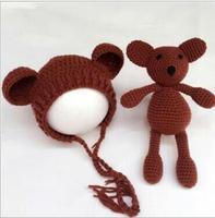 Hand Crochet Knitted Baby Hat Teddy Bear Bonnet Photography Photo Prop Newborn Knitting Hats 0 1