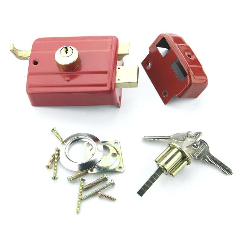 Seguridad ANTIRROBO puerta Exterior Retro Red Locks múltiples seguro cerradura de puerta de madera