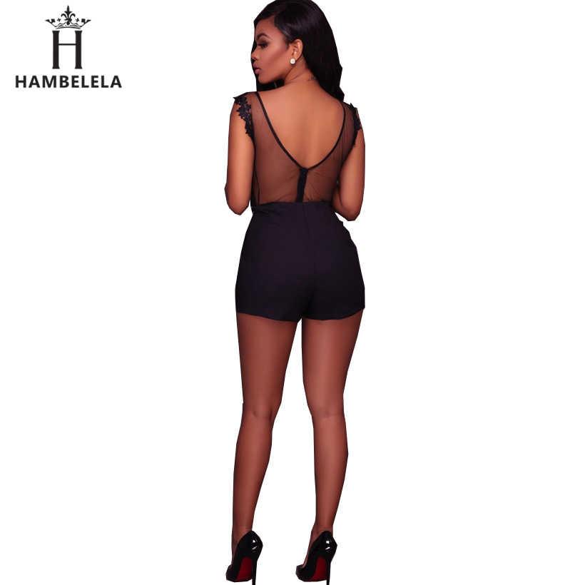 HAMBELELA Sexy negro encaje Bodi mujeres cuello redondo malla monos Romper sin espalda bordado señoras cuerpo Dentelle pantalones cortos monos