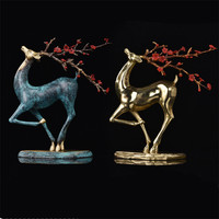 Ktv Bar Office Home Decorations Bronze Sika Deer Statue Creative Abstract Sculpture Sika Deer Figurine Decoration Ornament Craft