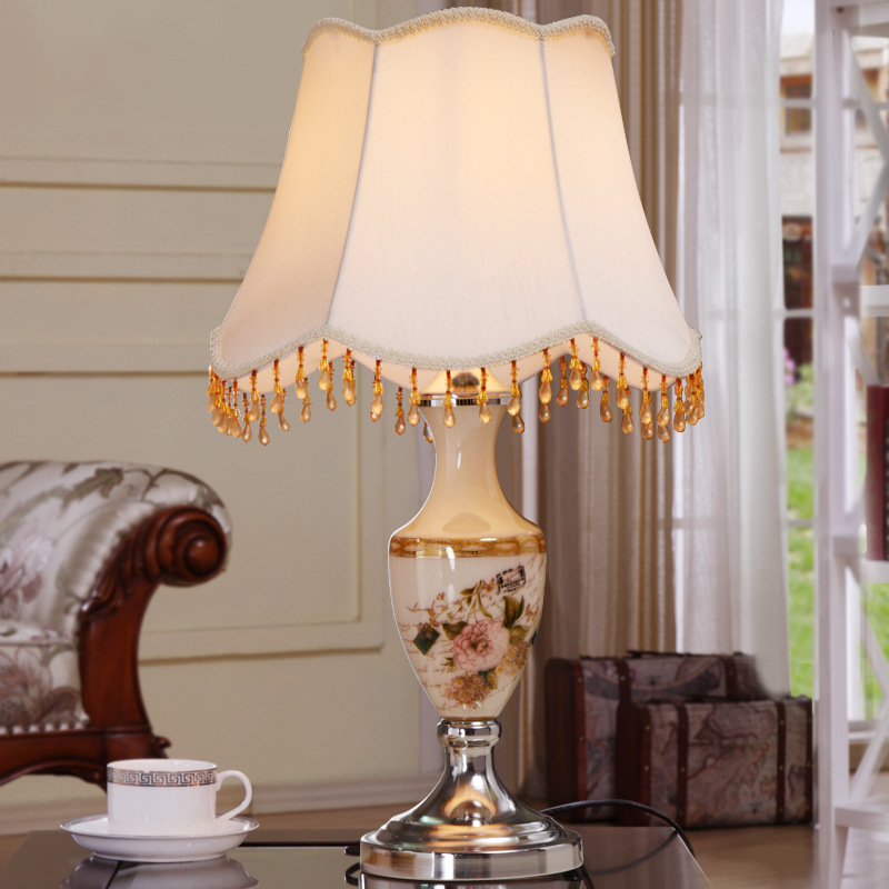 YOOK 34*58CM High Grade Glass Table Lamps Luxurious Hand Paiting Flower Stickers Vase Glass Table Lamps for Living Room Bedroom