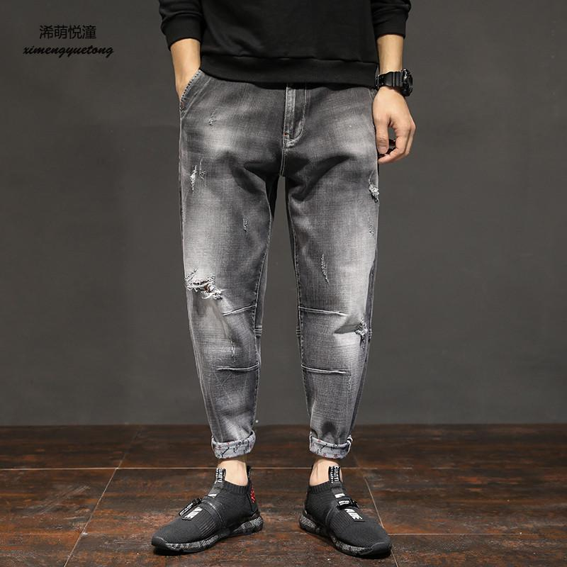 2018 spring and autumn new street fashion wash water hole jeans mens large size casual low waist pants pants Harlan jeans male