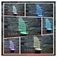 2017 Retro Sailboat Model 3D USB LED Lamp Acrylic 7 colors Changing Illusion Night Light Sporting Style Home Decor Kids Toys