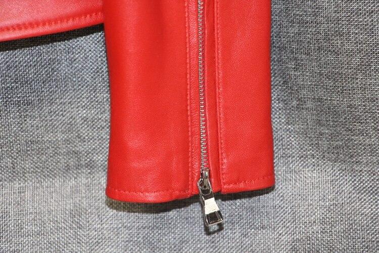 Promotion Gilet Veste Pleine Femelle Femmes Fourrure Grande 2018 Automne Mince Faux Sexy Rouge noir De Cuir Nouveau Taille Manteau Véritable Moutons c5RSj4q3AL