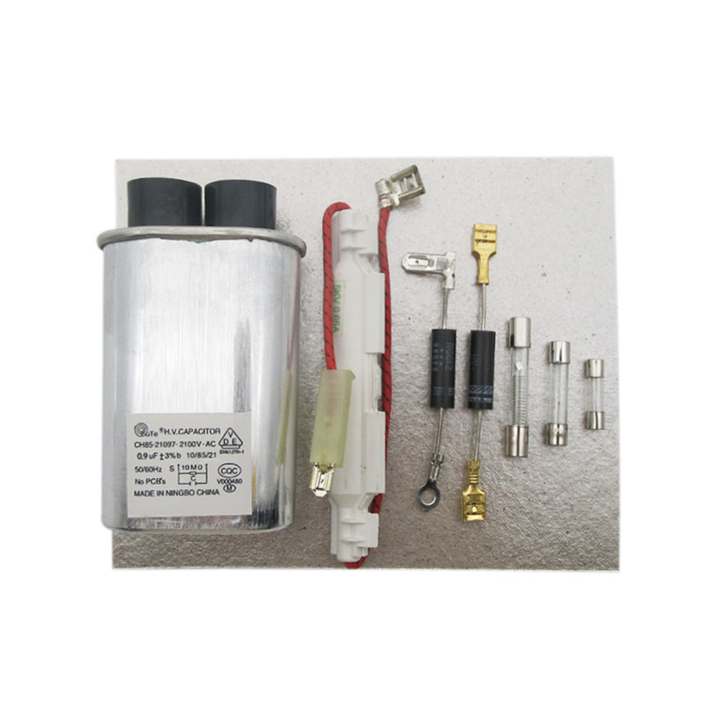 8pcs Standard Microwave Oven High-Voltage Fuse Capacitor Bidirectional High-Voltage Diode Mica Sheet Accessories 0.9 UF